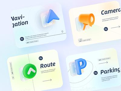 Landing page design icon app ui