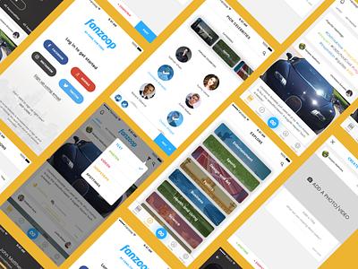 Fan App - Fanzoop create explore social ui app pick login feed