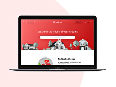 Redbrics Landing Page apartment vector minimal interface web illustration icon flat design clean house app