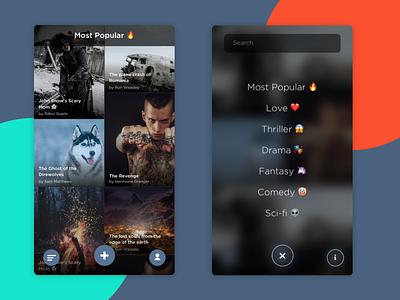 Chat Stories App grid menu blur sketch uiux chat