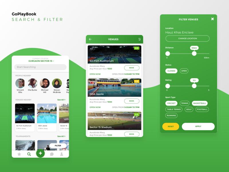 GoPlayBook - Search & Filter sports app social uiux app sketch