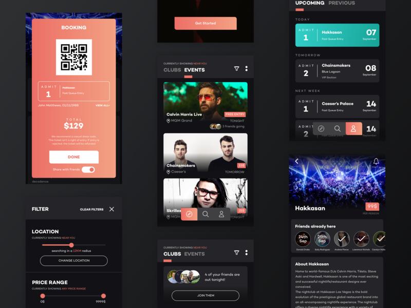 Nightready app concept dark ui tickets events nightlife uiux app sketch