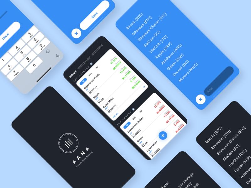 Aana - Crypto Tracker dark ui uiux app sketch
