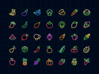 Colorful Fruit&Vegetable Icons