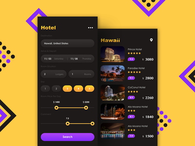 Booking Hotel flat design app ui