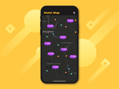 Hotel Map Interaction ux design animation ui app
