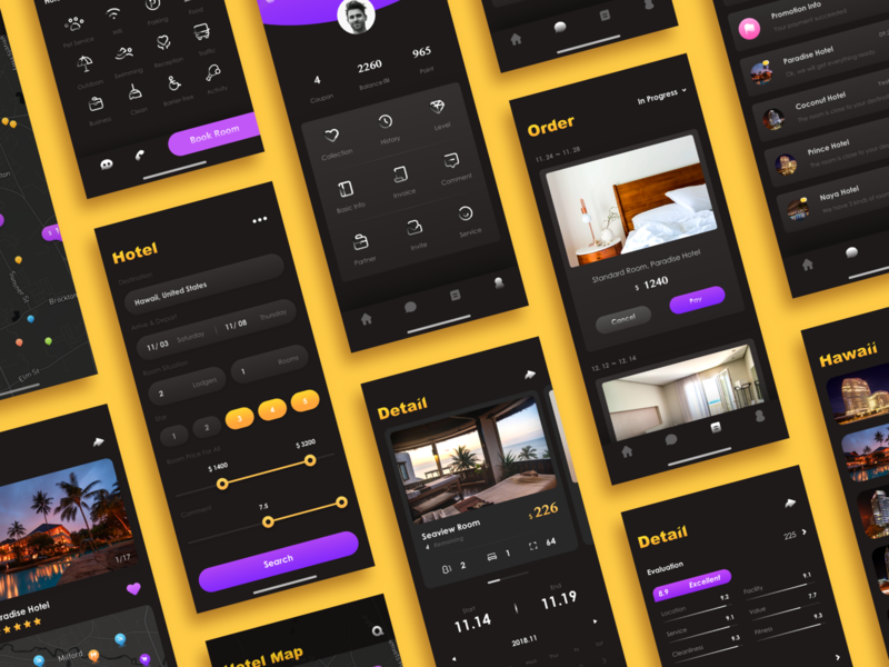 Hotel Booking Pages icon flat design ui app