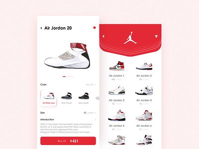 Air Jordan Pages flat design ui app