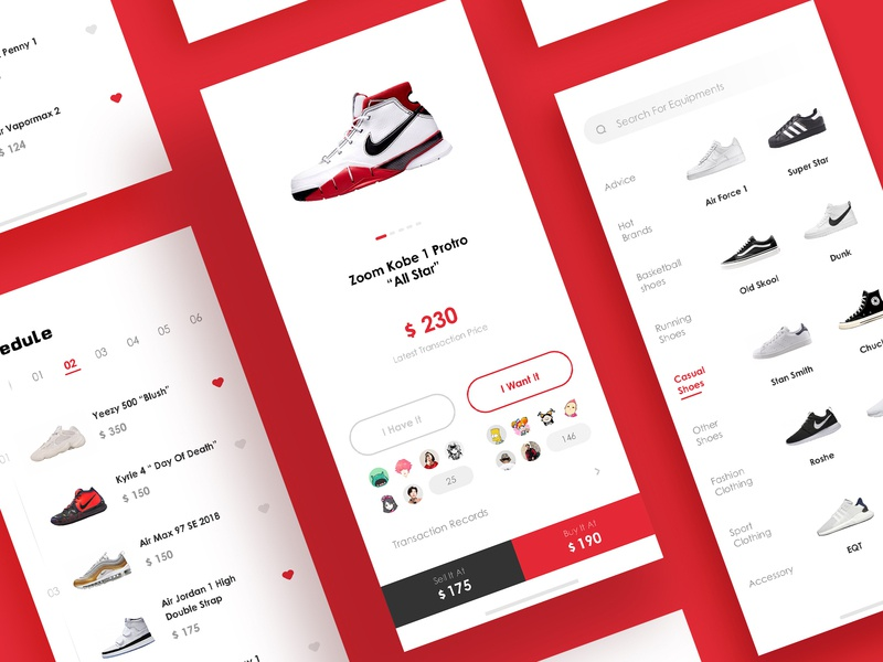 Sports Equipment Pages flat design ui app