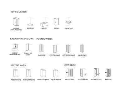 Icons: shower, bath, sink preferences minimalistic line door bath sink shower bathroom icons pack icons