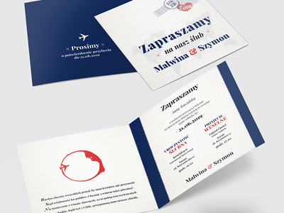 Invitation 2 - travellers wedding travelling white blue travel invitation