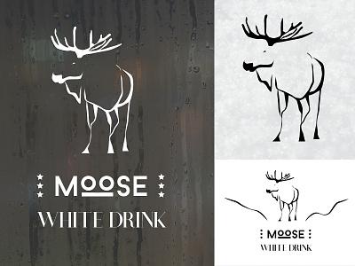 moose logo logotype mockup drink white nature moose design logo