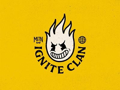 Ignite Clan apparel streetwear logo grunge vintage retro mascot flame clan ignite
