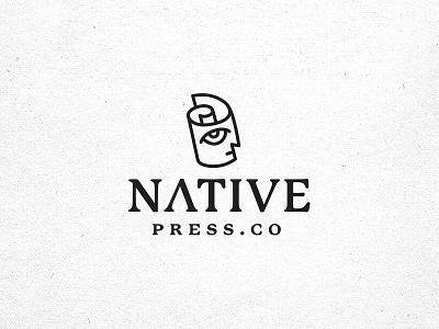 Native Press.Co logo primitive papyrus scroll vintage statue newspaper paper blog press native