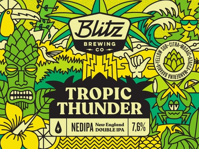 Tropic Thunder - Beer label summer wave jungle cool surf beach crab sun beerlabel brewery beer thunder tropic