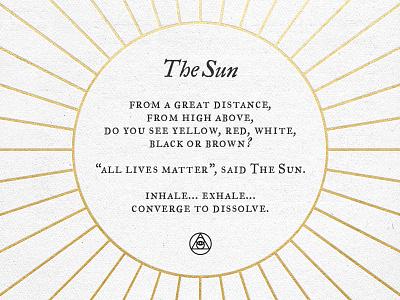 The Sun life sun letterpress print humanity eath awareness unity ortus