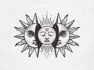 The Sun and Moon zodiac occult branding logo illustration grunge vintage esotheric moon sun