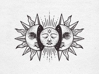 The Sun and Moon zodiac occult branding logo illustration grunge vintage esotheric moon sun