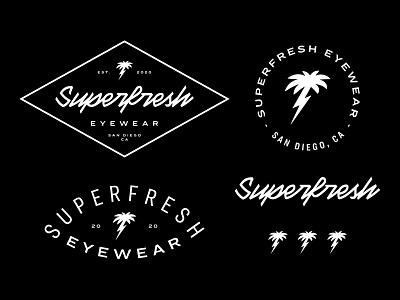 Superfresh california san diego eyewear sunglasses lightning bolt palm vintage logo lettering branding logo logodesign logotype