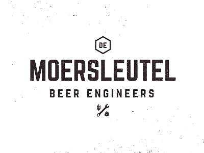 Beer Engineers engineers industrial grunge vintage wheat hops wrench brewery branding brewery logo brewery beer