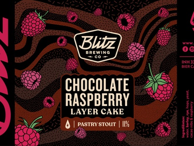 Blitz Pastry Stout beer art beer can beer branding stout chocolate beerlabel label raspberry pastrystout craftbeer brewery beer blitz