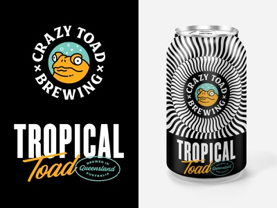 Tropical Toad cartoon toad illustration optical illusion packaging branding craftbeer beercan beer