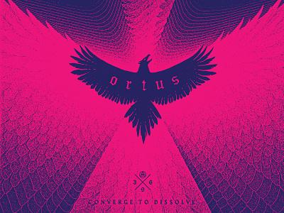 Converge to Dissolve mystical esotheric space cosmos grunge ortus fire flame abundance bird eagle phoenix illustration logo