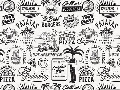 Las Palmeras pattern vintage illustration pattern art pizza box palms logo pattern restaurant fastfood salads burgers pizza