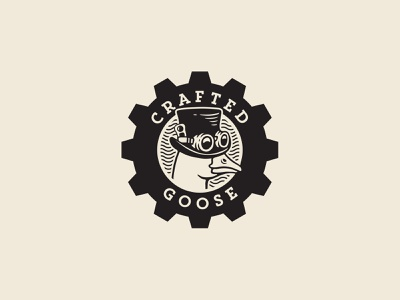 Crafted Goose logo design beverage machine factory vintage steampunk industrial brewery logo beer craft goose logo