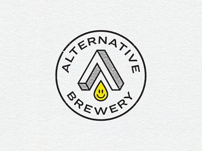 Alternative Brewery badge logo retro 90s alternative beer logo logo craftbeer brewery logo brewery beer