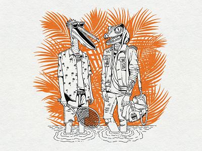 LPM burgers T shirt summervibes aligator pelican florida palms t shirt holiday thrash hipster summer illustration