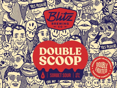 Double Scoop beer label beer branding beer pattern retro melting icecream raspberry vintage vanilla punk rock illustration beer label