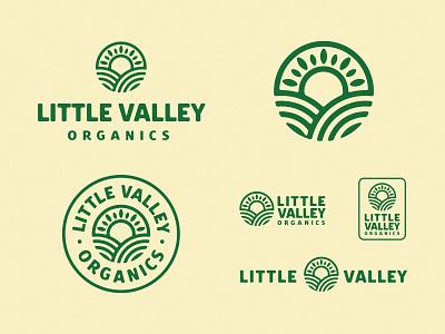 Little Valley Organics superfood organics natural leaf logo food abstract minimal green ogranic sun