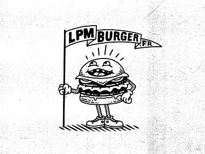 LPM Burgers france illustration fastfood restaurant vintage logo retro character mascot burgers burger