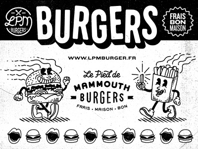 LPM Burgers graphic design fries food hunger lettering logo branding packaging mascot oldschool grunge cartoon vintage fastfood restaurant burgers burger