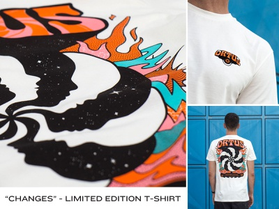 Ortus - Changes groovy retro stoner shrooms moon sun apparel space cosmos mind changes consciousness abstract tshirt illustration ortus