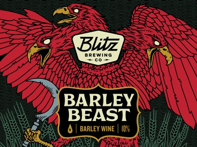 Barley Wine barley wine bold design demon eagle illustration wheat beast barley blitz craft brewery brewery beer