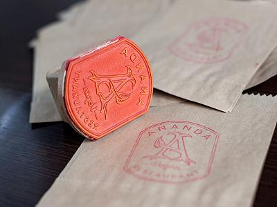 Stamp food packaging branding stamp logo restaurant vegan ananda