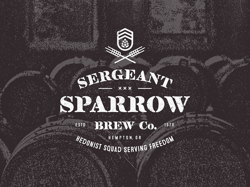 Sergeant Sparrow Brew Co. barrel military lettering logo wheat hop brew beer sparrow sergeant