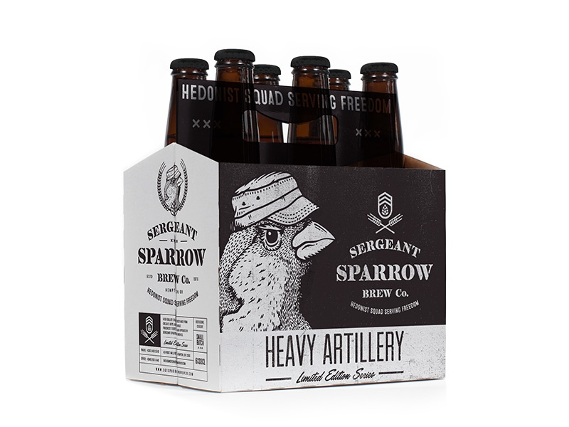 Heavy Artillery military sparrow sergeant box bottle packaging brew beer