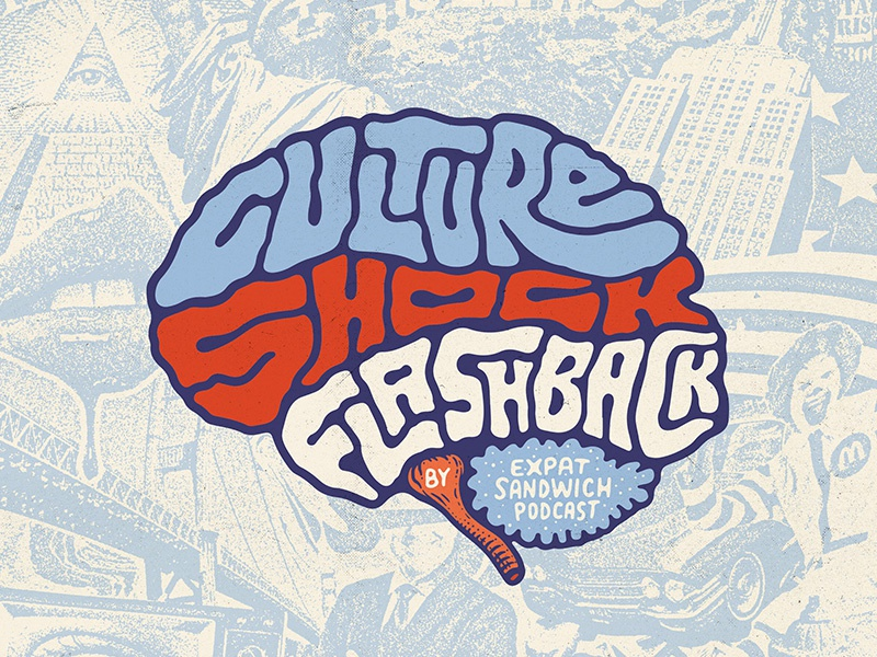 Culture Shock Flashback collage punk poster logo podcast lettering flashback brain usa