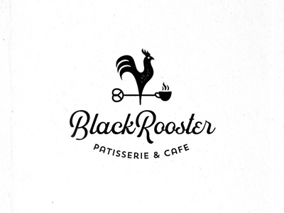 Black Rooster cup retro vintage bakery pretzel patisserie coffee cafe rooster white black