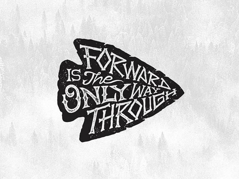 Ortus native nature grunge freehand lettering way through forward archer arrow