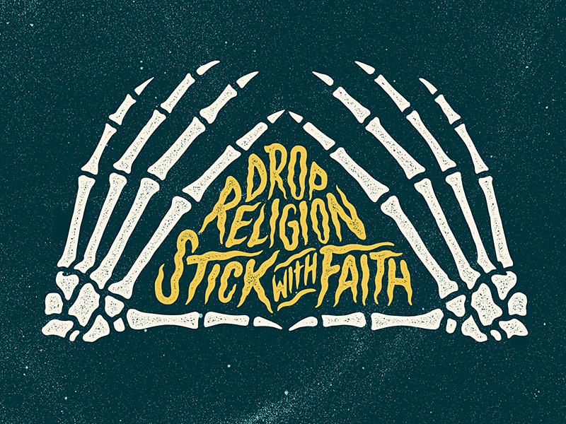 Stick with Faith grunge retro horror lettering space skeleton skull