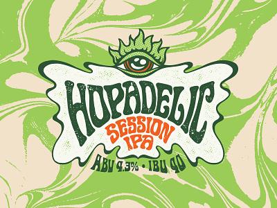Hopadelic 60s vintage retro stoner lsd hippie brewery beer hop eye psychedelic