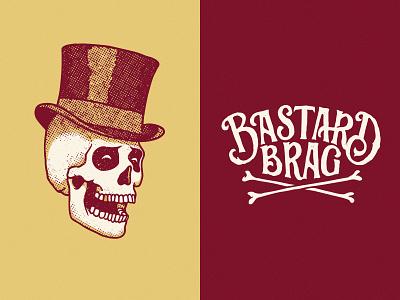 Bastard Brag lettering can beer bones gentleman hat skull cards poker brag bastard