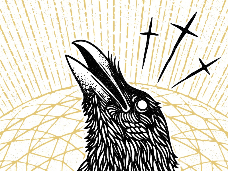 Ortus illustration geometry spirit ghost grunge mandala holy raven crow ortus