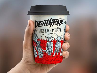 Devilstone hipster metal rock punk festival music flames raven mantis cat goat bat