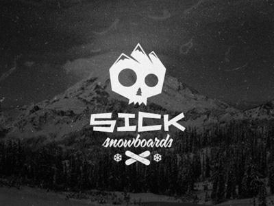 Sick Snowboards sick snowboards snowboard logo extreme sport apparel branding skull mountain snowflake