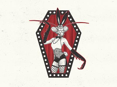 Bugbunny halftone illustration retro coffin mutant mantis playboy bunny bug